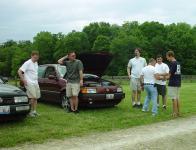 The Chicago contingent's arrival...the corner of Ellen's Corrado and her husband Tonee's VR6 Passat, with onlookers..